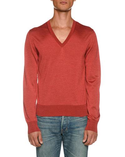 Men's Long-Sleeve V Neck Shirt
