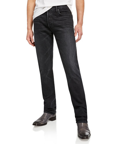 Men's Black-Wash Straight-Leg Jeans