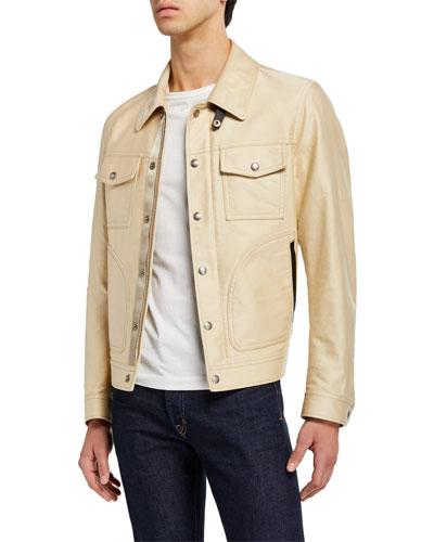 Men's Leather-Trim Cotton Sateen Jacket