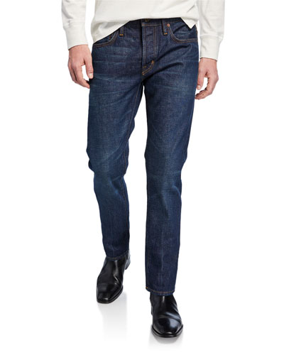 Men's Straight-Fit Dark-Wash Jeans