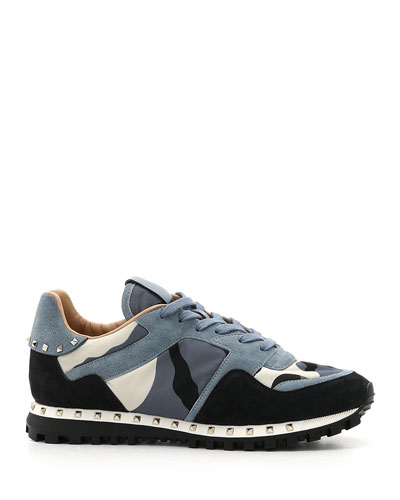 Men's Rockrunner Camo Leather Sneakers, Black/Blue