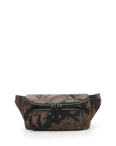 Men's Allover-Logo Camo Leather Belt Bag