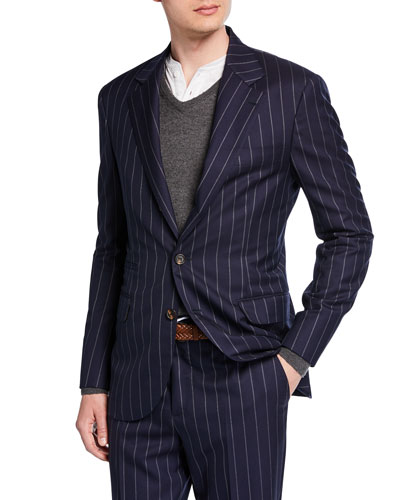Men's Wide Pinstriped Two-Piece Suit