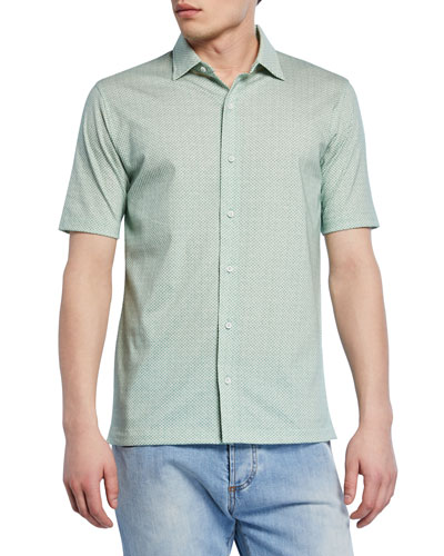 Men's Geometric Short-Sleeve Sport Shirt