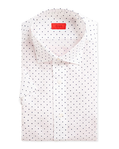 Men's Short-Sleeve Dotted Seersucker Sport Shirt