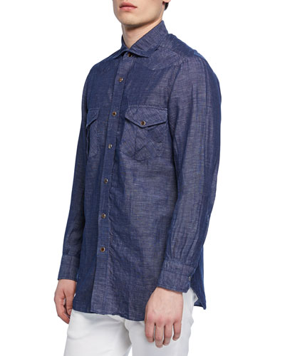 Men's Washed Denim Sport Shirt