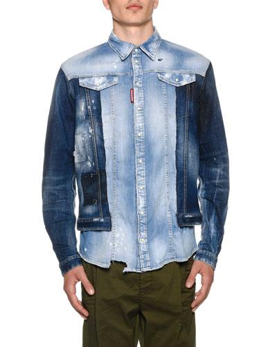 Men's Mixed-Wash Denim Shirt w/ Jean Jacket Combo