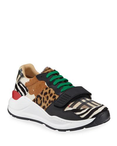 Men's Ramsey Signature Check & Mixed Animal-Print Sneakers