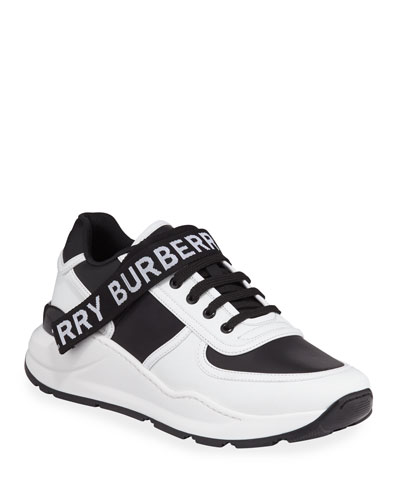 Men's Ronnie Logo-Strap Leather Sneakers