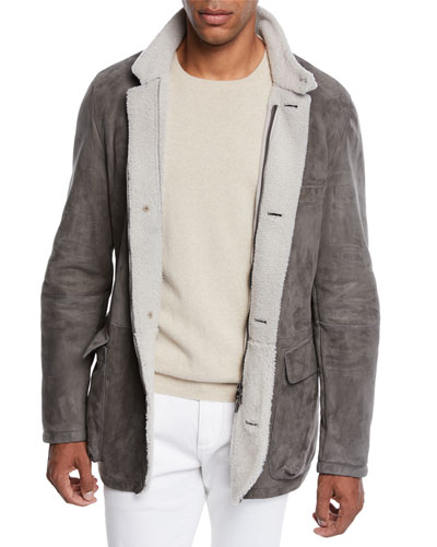 ebc302a93c Men s Roadster Suede Shearling Coat