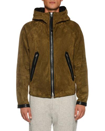 Men's Leather Zip-Front Sports Hoodie