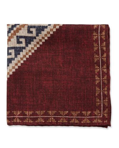 Graphic-Pattern Linen/Cotton Pocket Square