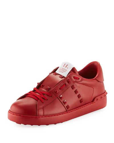 Rockstud Untitled Men's Leather Low-Top Sneakers