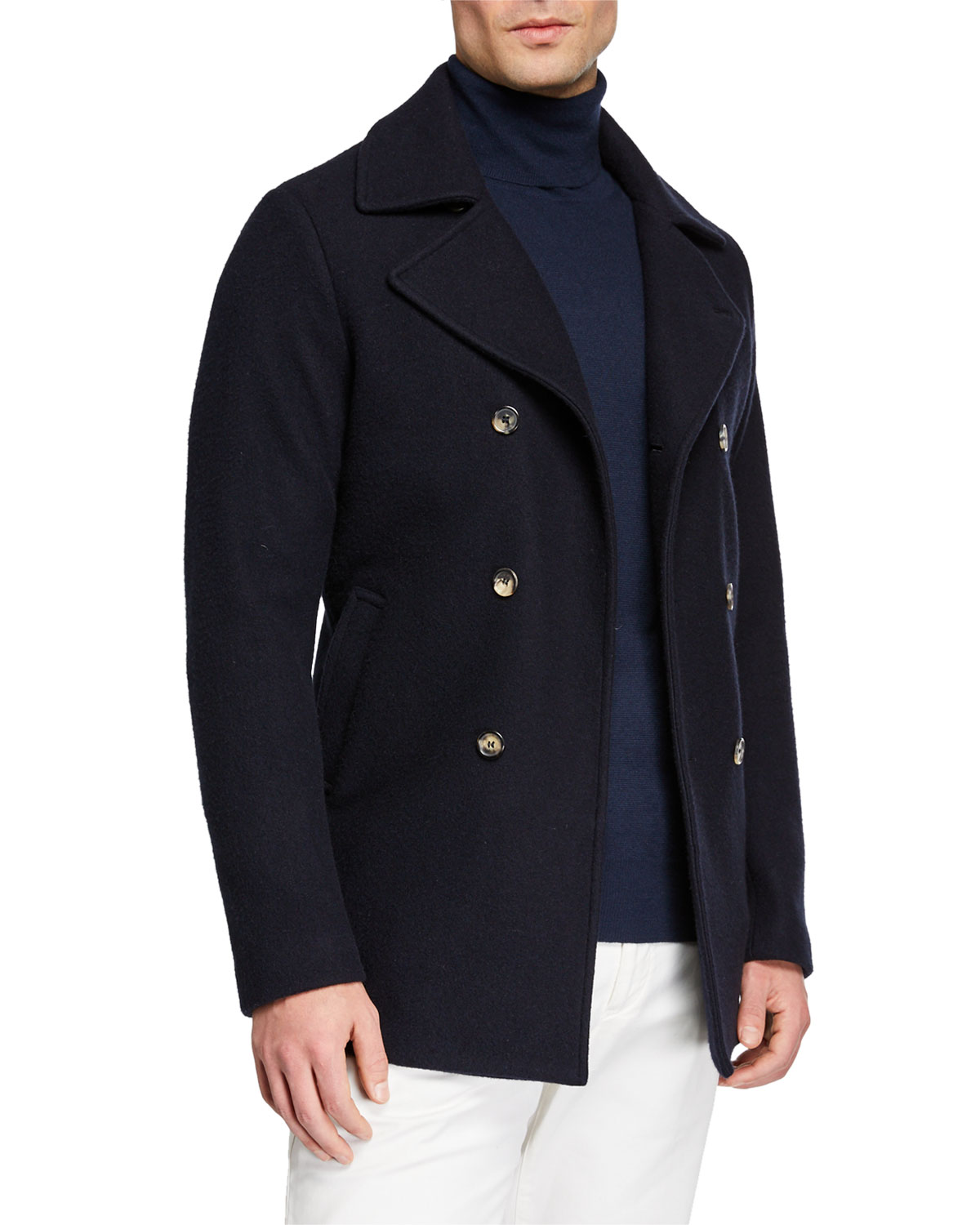 Loro Piana Coats MEN'S CASHMERE PEA COAT