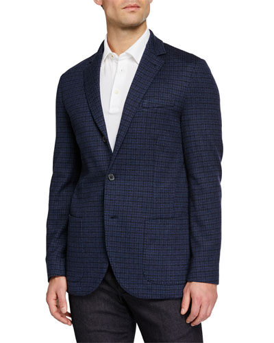 Men's Check Cashmere Knit Jacket