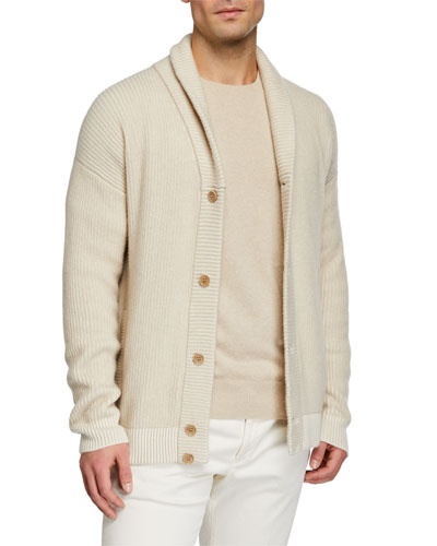 Men's Shawl-Collar Button-Front Rib Cashmere Cardigan