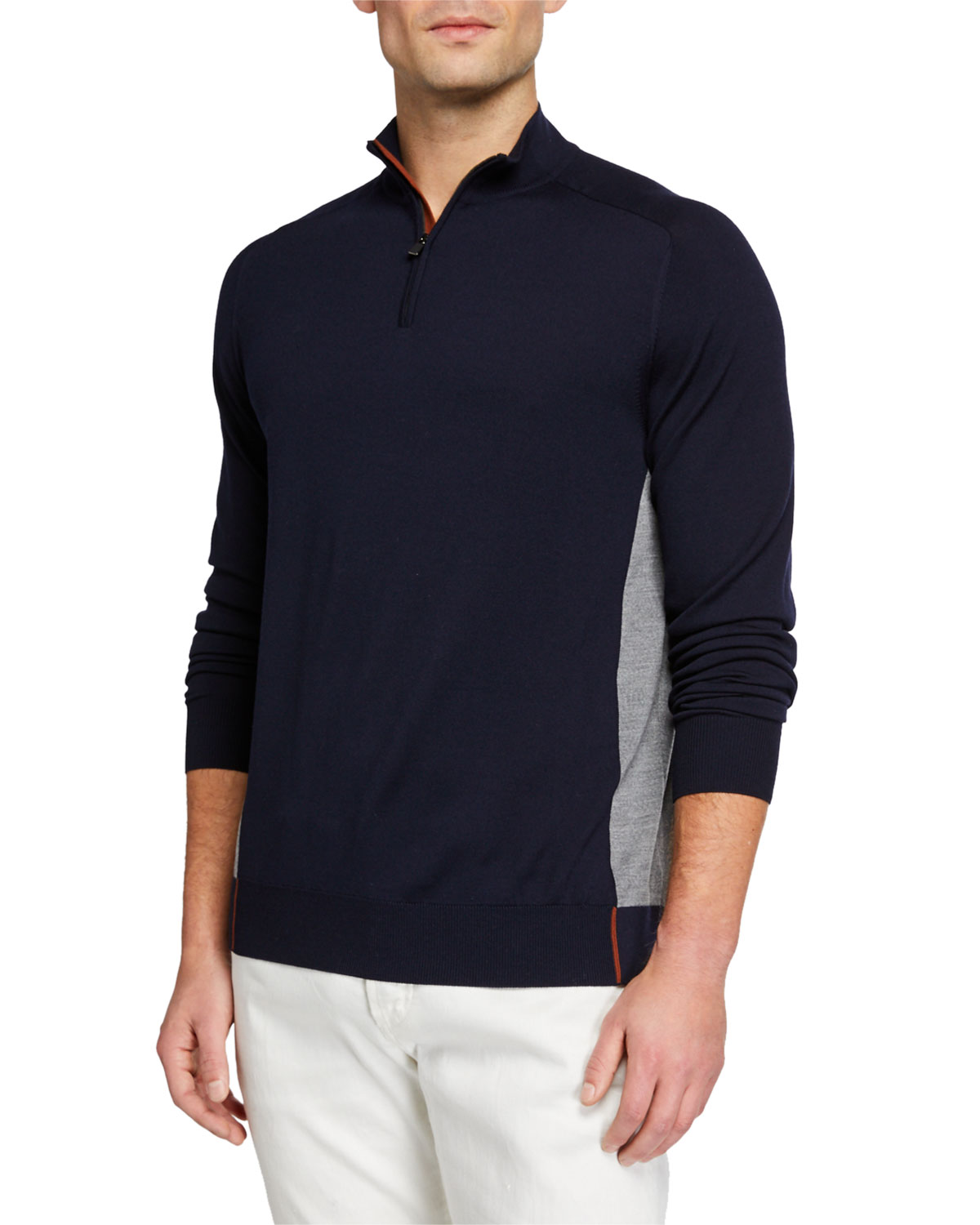 Loro Piana Sweaters MEN'S MATCHES ATHLETIC-INSPIRED SWEATER