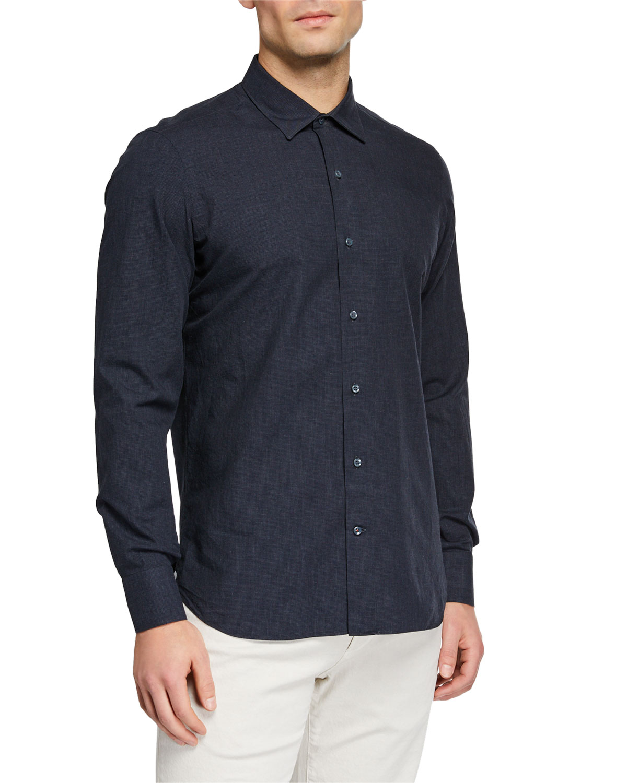 Loro Piana T-shirts MEN'S ARTHUR MELANGE CHECK SPORT SHIRT