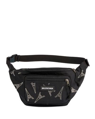 Men's Explorer Belt Bag w/ Eiffel Tower Embellishments