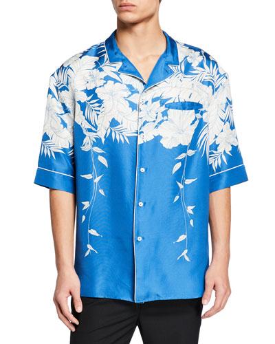 Men's Floral-Print Silk Short-Sleeve Sport Shirt