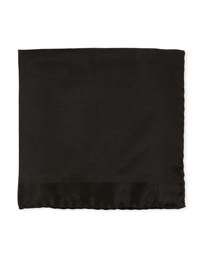 Tonal Border Silk Pocket Square, Black