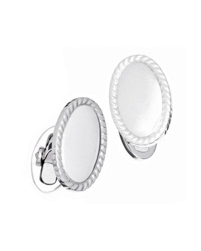 Oval Braided-Edge Engravable Cufflinks
