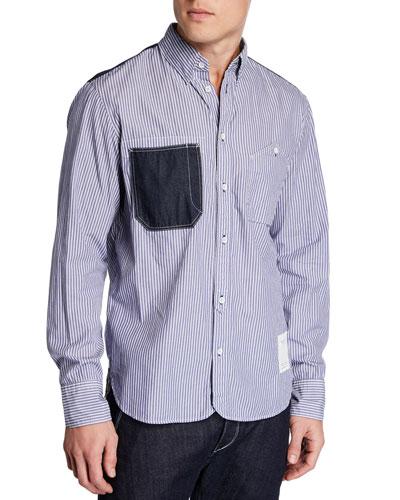 Men's Levine Chambray Trim Striped Sport Shirt