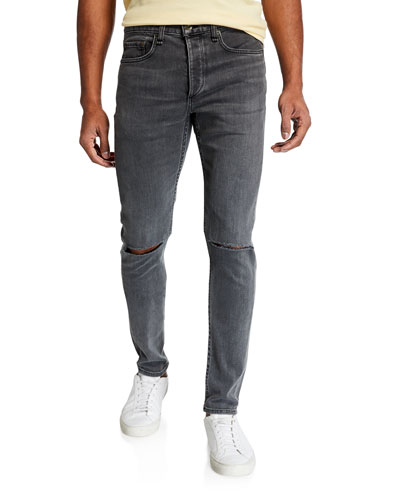 Men's Standard Issue Fit 1 Slim-Skinny Jeans w/ Ripped Knees