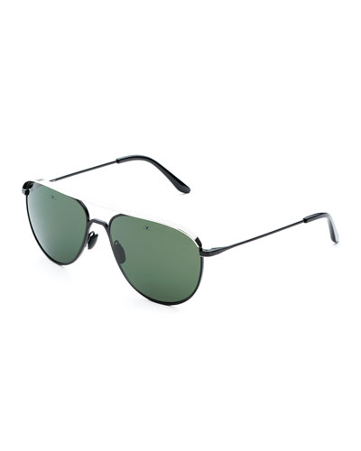 Men's Metal-Capped Pilot Sunglasses - Polarized