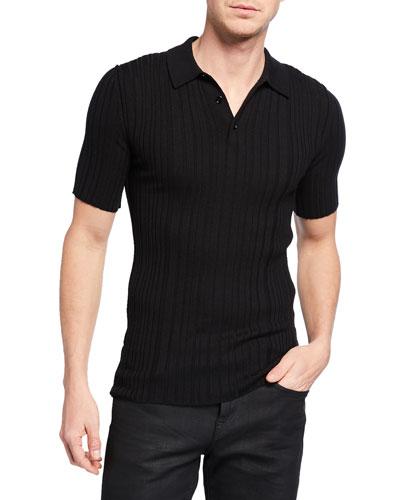 Men's Ribbed Knit Wool Polo Shirt