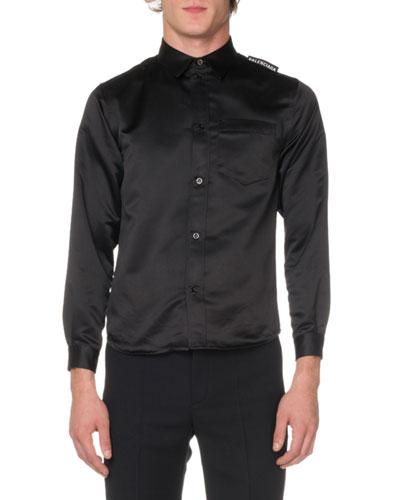 Men's Long-Sleeve Oversized Twill Sport Shirt