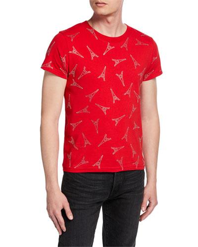 Men's Eiffel Tower Short-Sleeve Shrunken T-Shirt