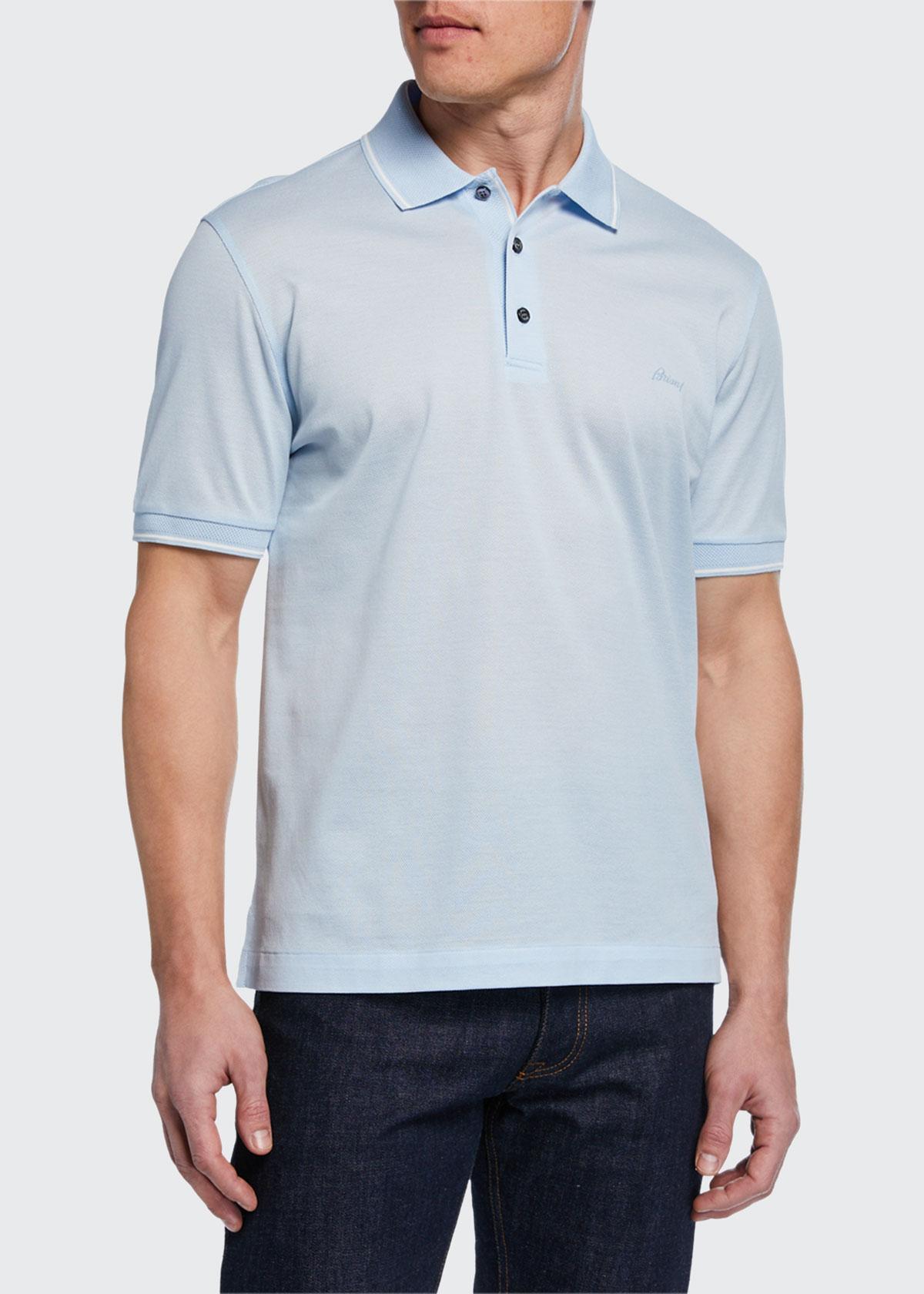 Brioni T-shirts MEN'S TIPPED PIQUE POLO SHIRT