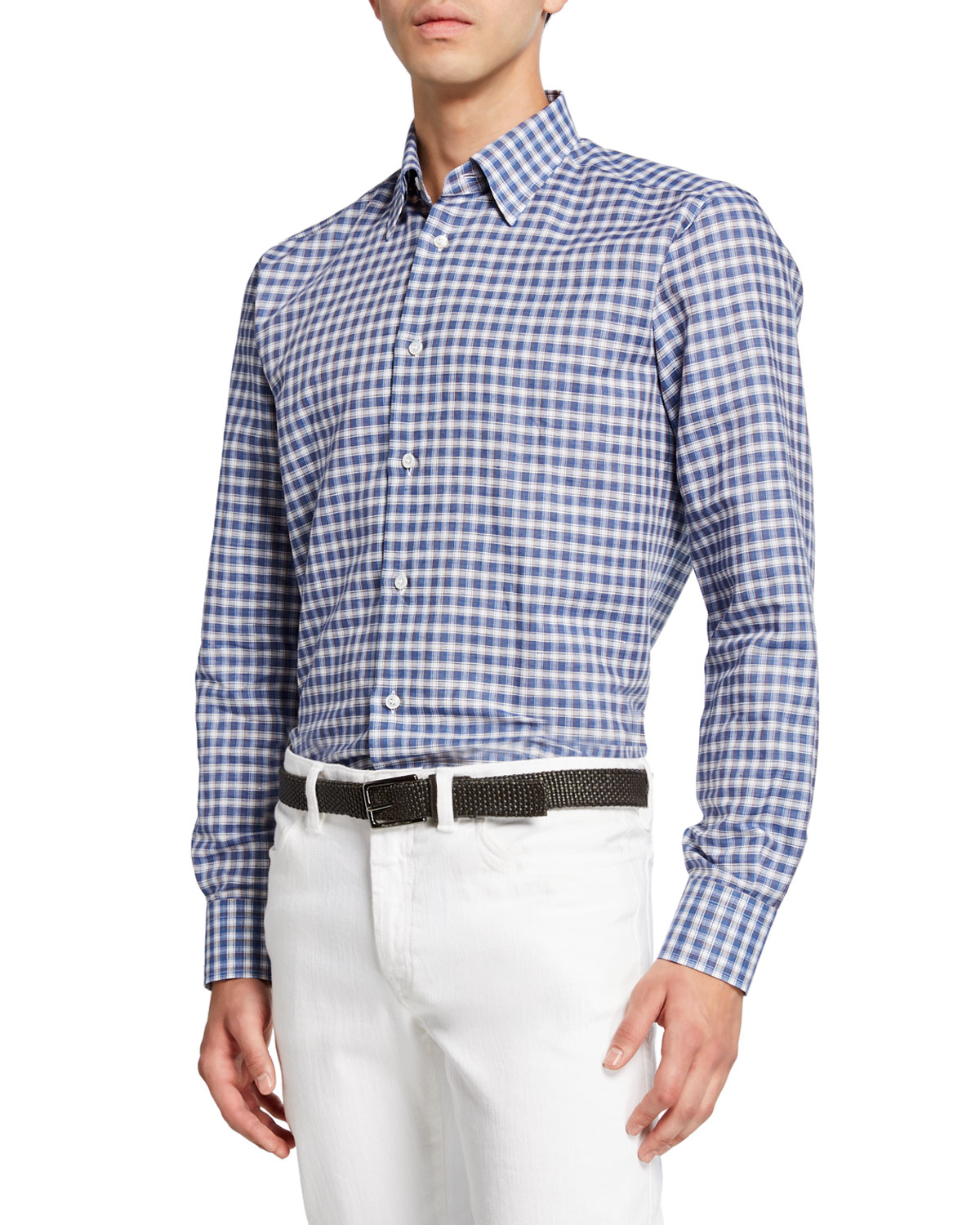 Brioni T-shirts MEN'S COTTON/LINEN CHECK SPORT SHIRT