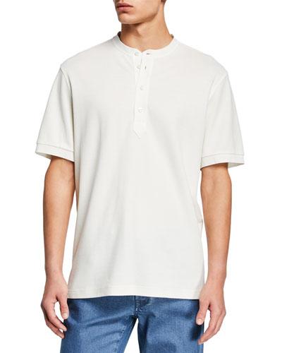 Men's Pique Short-Sleeve Henley Shirt