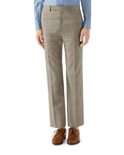 Men's Windowpane Plaid Flat-Front Pants