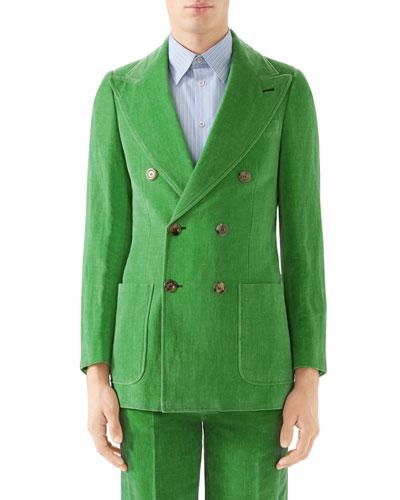 Men's Double-Breasted Velvet Jacket
