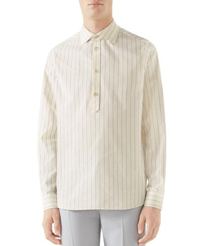 Men's Striped Quarter-Button Sport Shirt
