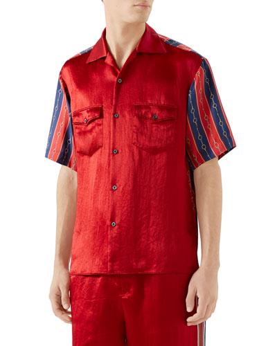 Men's Silk-Front Chain Striped Short-Sleeve Shirt