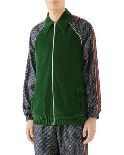 Men's Velvet Scarf-Print Zip-Front Track Jacket