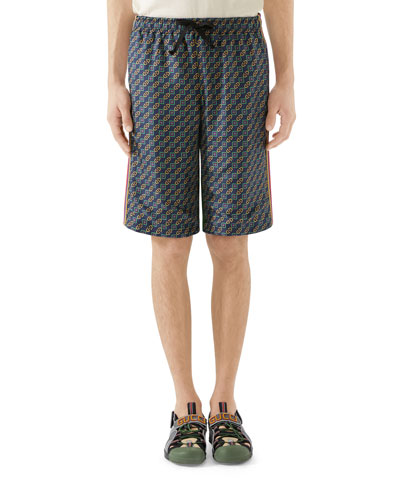 Men's Velvet Scarf-Print Track Shorts