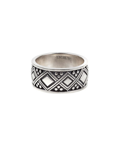 Men's Diamond-Carved Sterling Silver Band Ring