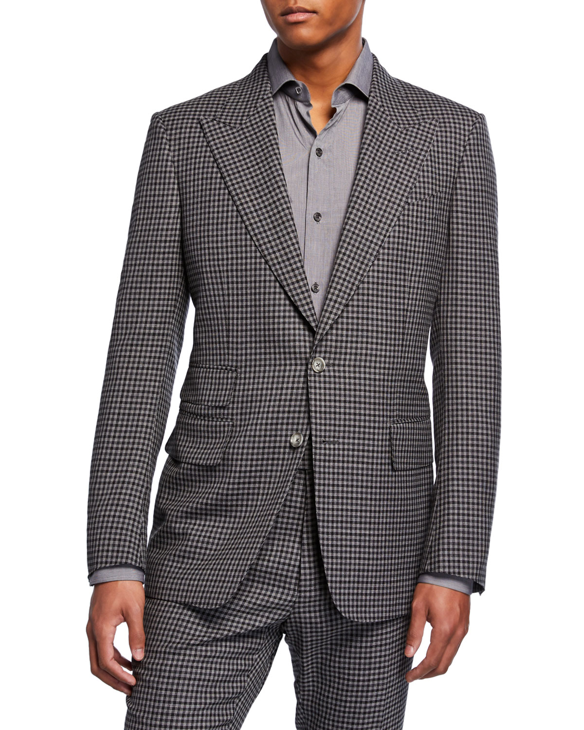 Tom Ford Men's Shelton Micro-Check Wool-Blend Two-Piece Suit In Dark Gray