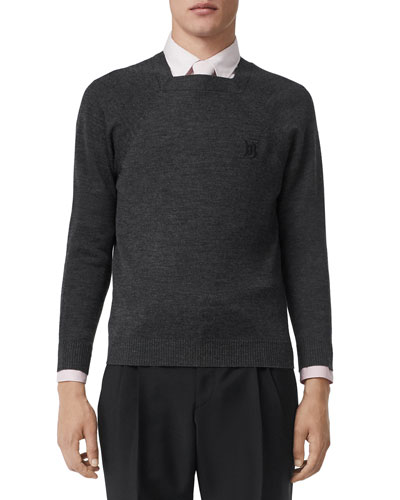 Men's Square-Neck Wool Sweater