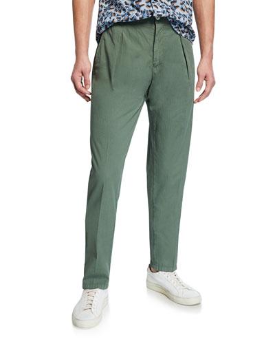 Men's Solid Seersucker Pants, Green
