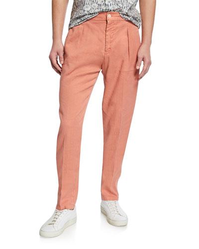 Men's Linen-Cotton Pleated Pants, Orange