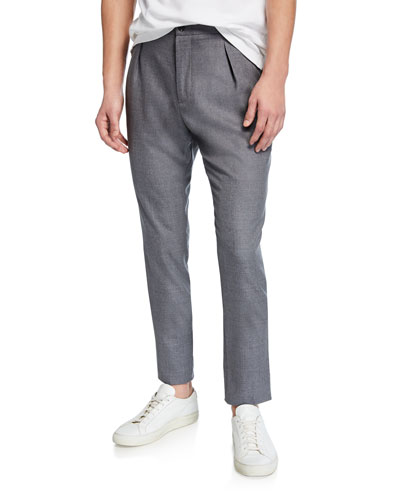 Men's Heathered Wool Pleated Pants, Gray