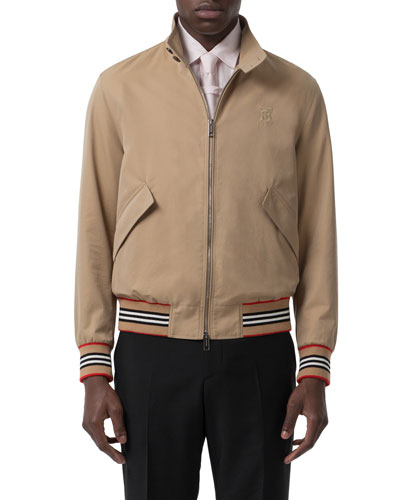Men's Whitstable Striped-Trim Bomber Jacket