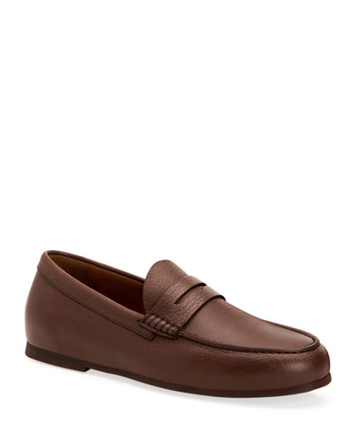 Men's Kirk Pebbled Calf Leather Penny Loafers