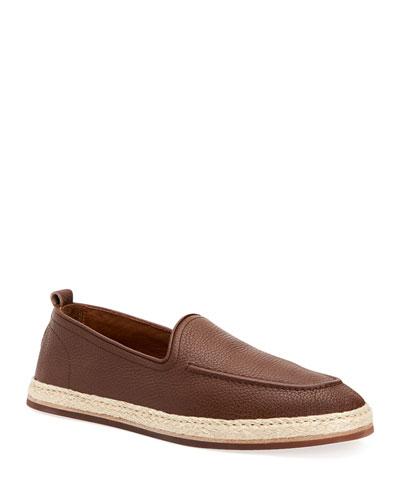 Men's John Pebbled Leather Espadrille Loafers